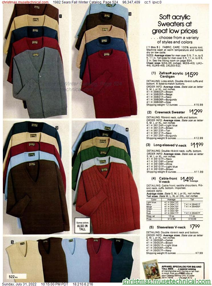 1982 Sears Fall Winter Catalog, Page 524