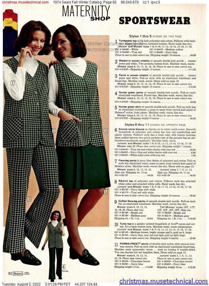1974 Sears Fall Winter Catalog, Page 92