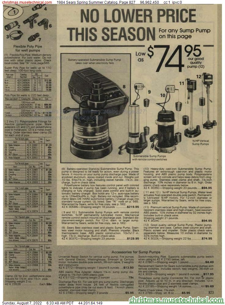 1984 Sears Spring Summer Catalog, Page 827