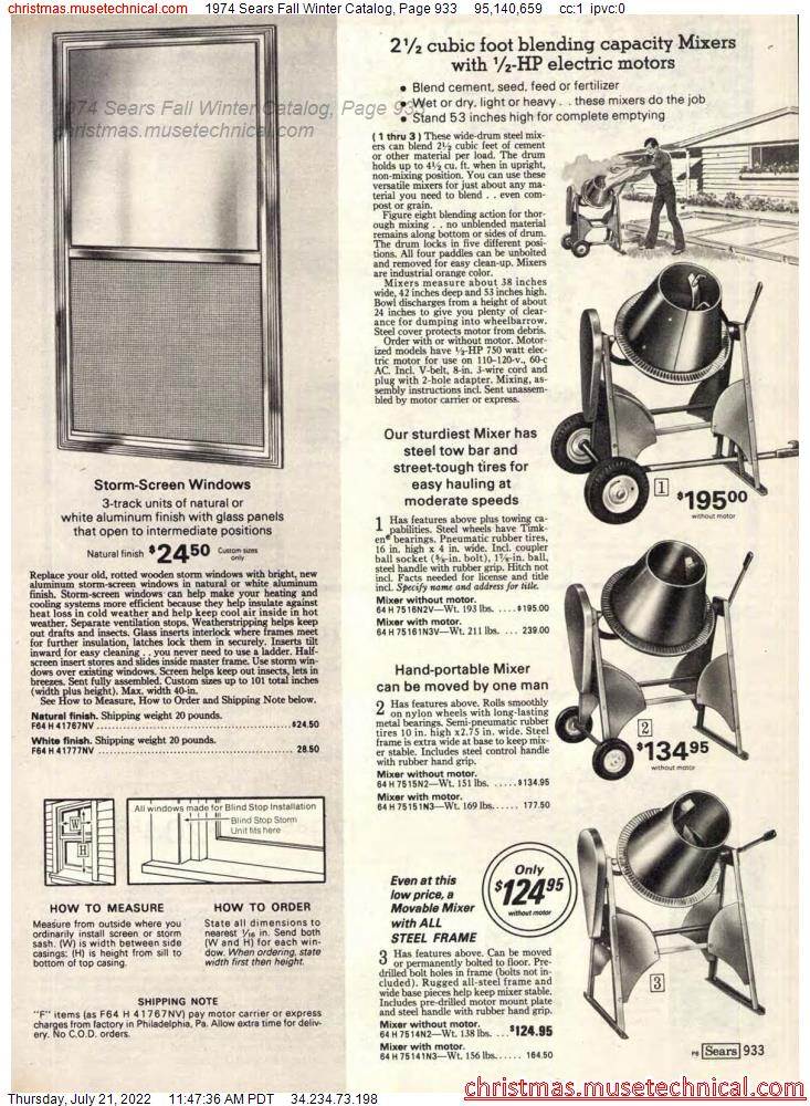 1974 Sears Fall Winter Catalog, Page 933