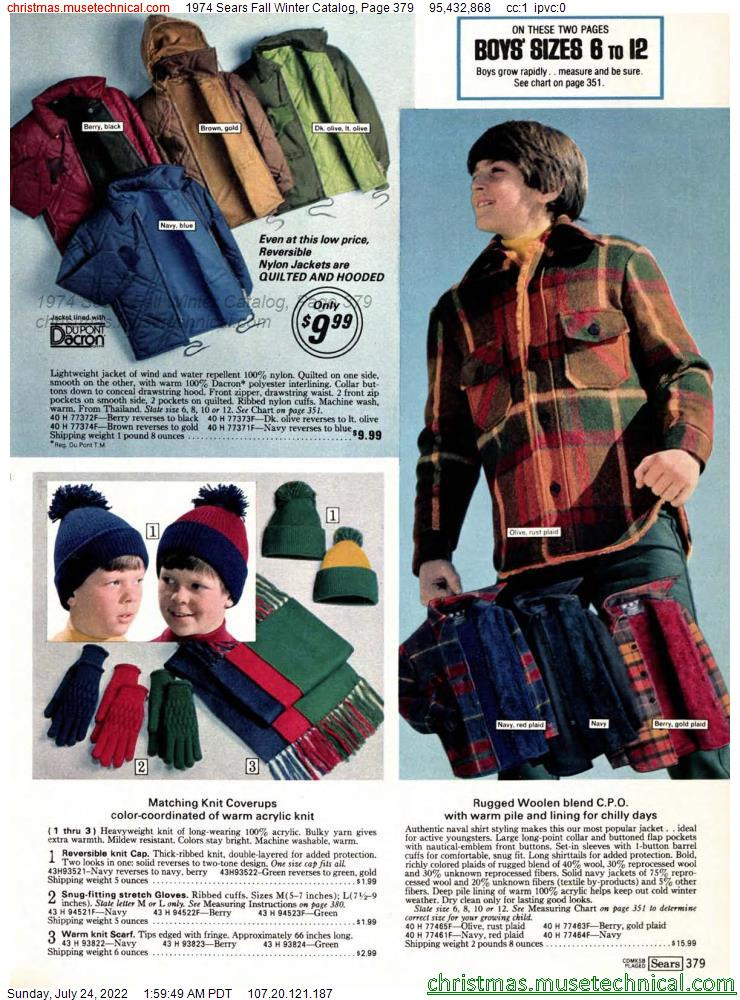 1974 Sears Fall Winter Catalog, Page 379