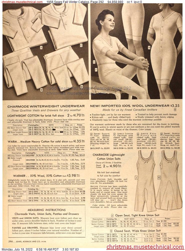 1956 Sears Fall Winter Catalog, Page 292