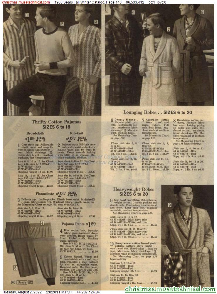 1968 Sears Fall Winter Catalog, Page 140