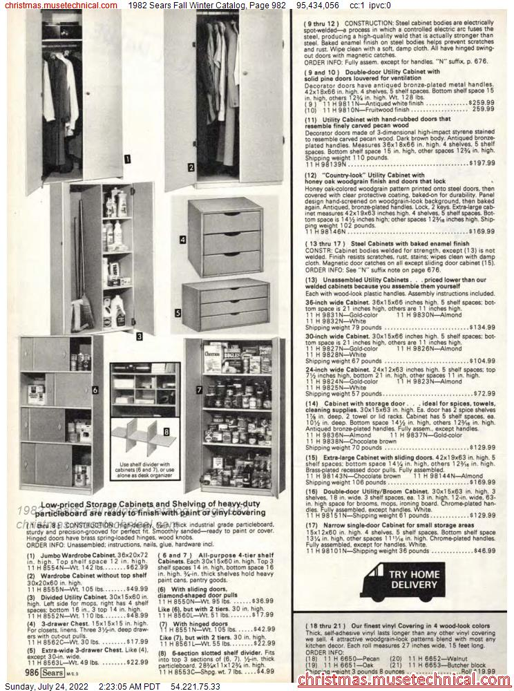 1982 Sears Fall Winter Catalog, Page 982