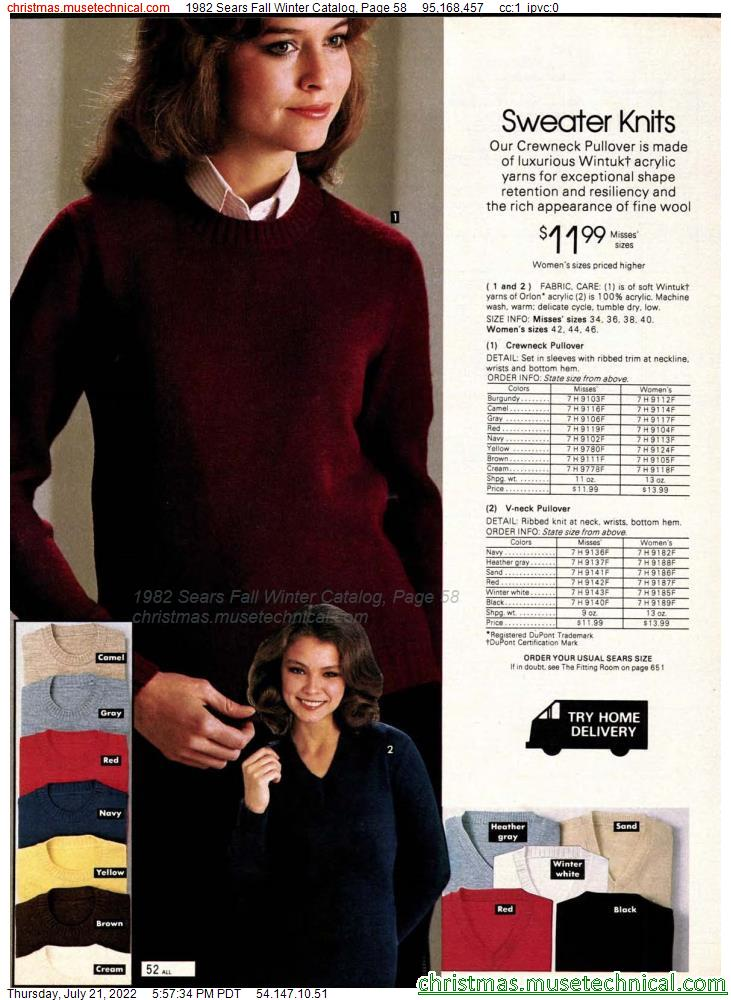 1982 Sears Fall Winter Catalog, Page 58