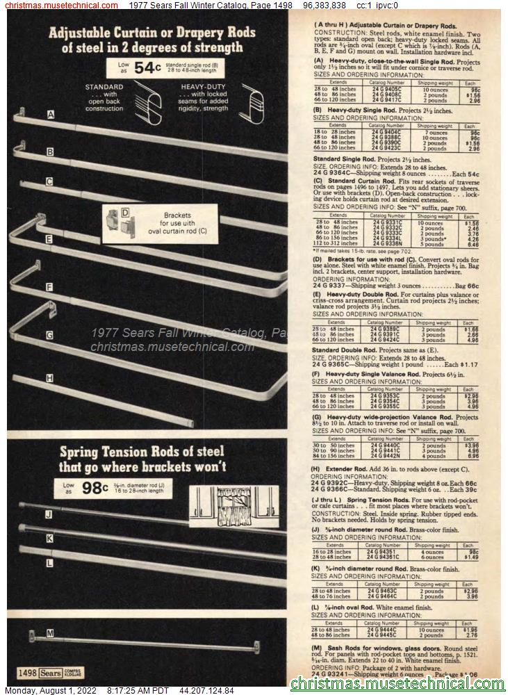 1977 Sears Fall Winter Catalog, Page 1498