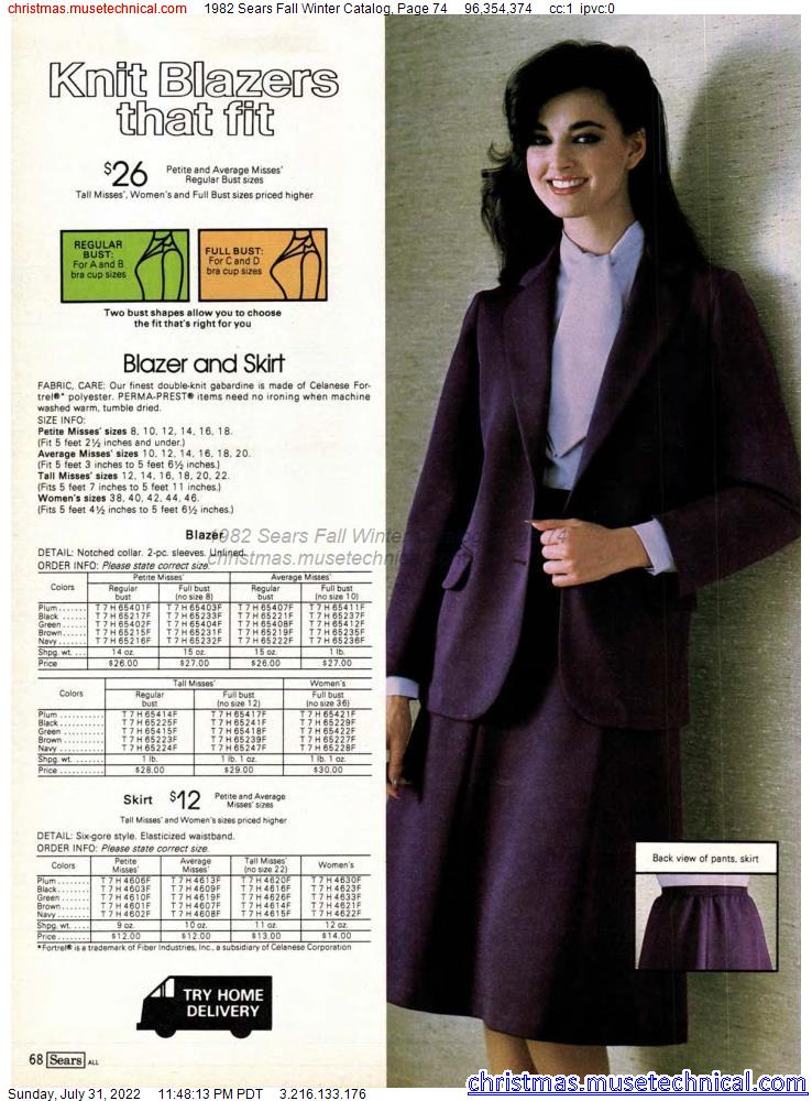 1982 Sears Fall Winter Catalog, Page 74