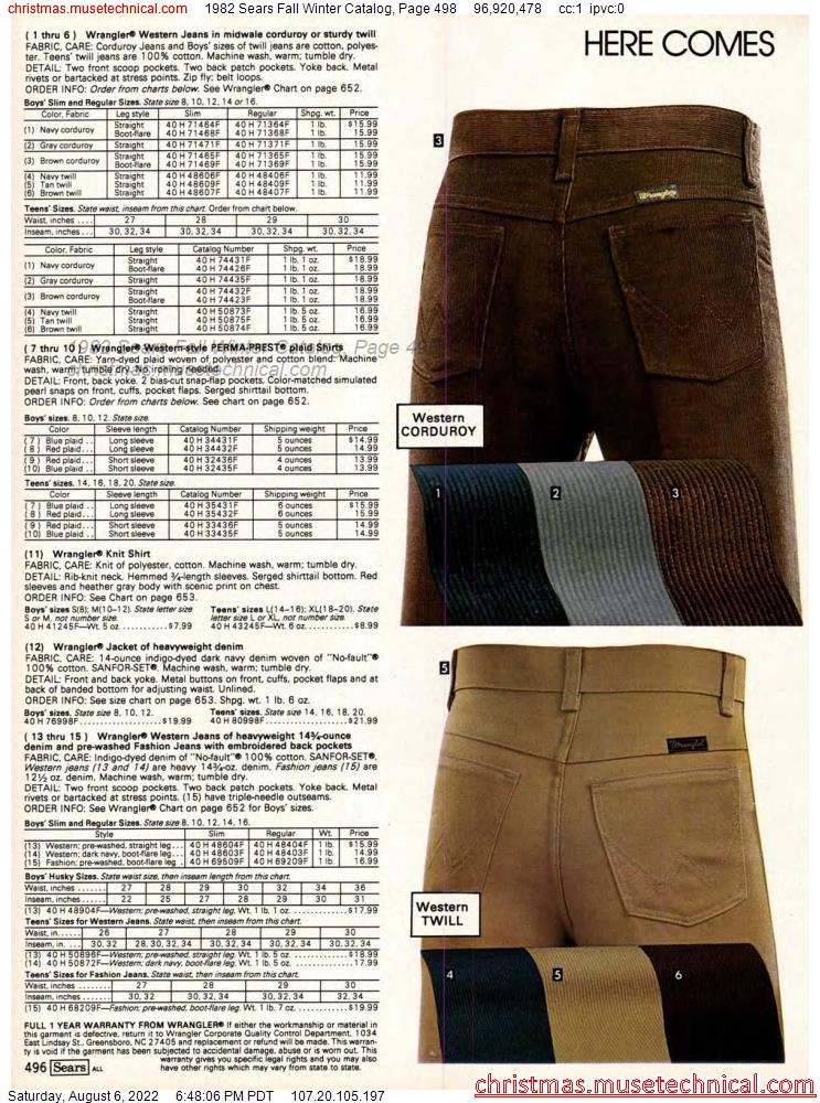 1982 Sears Fall Winter Catalog, Page 498