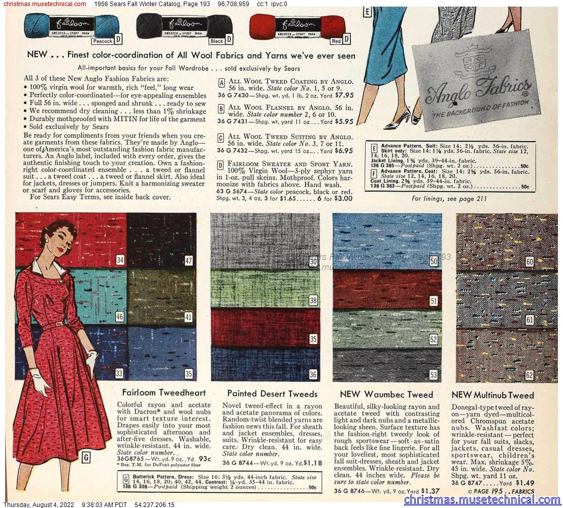 1956 Sears Fall Winter Catalog, Page 193