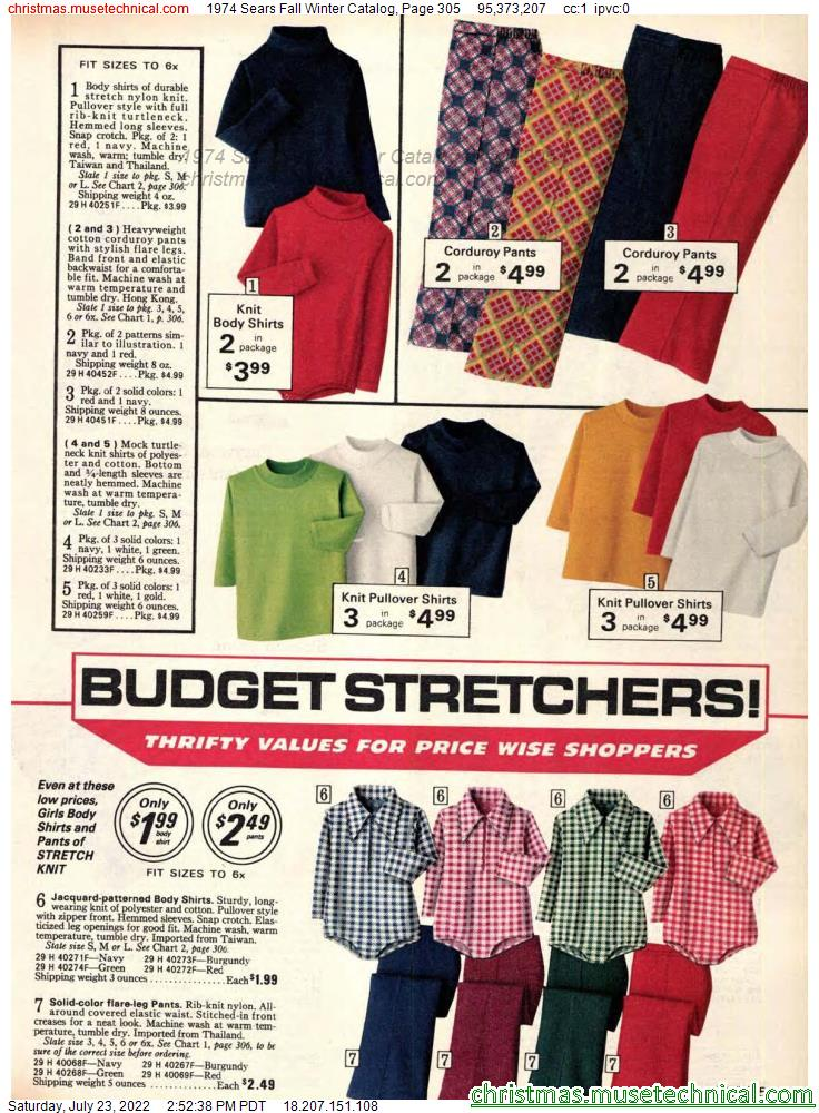 1974 Sears Fall Winter Catalog, Page 305