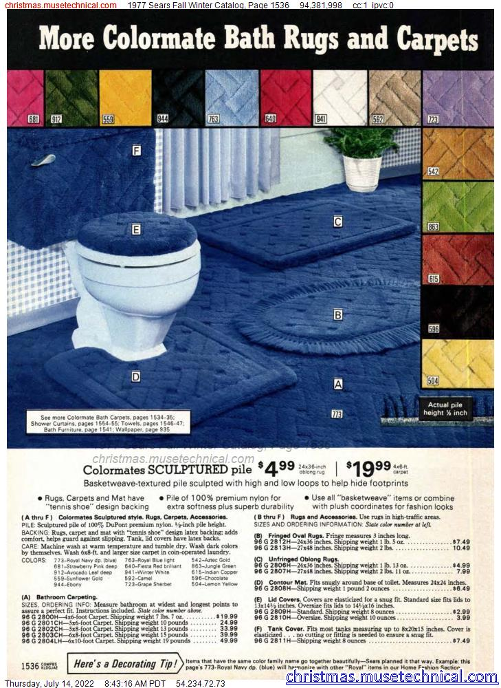 1977 Sears Fall Winter Catalog, Page 1536
