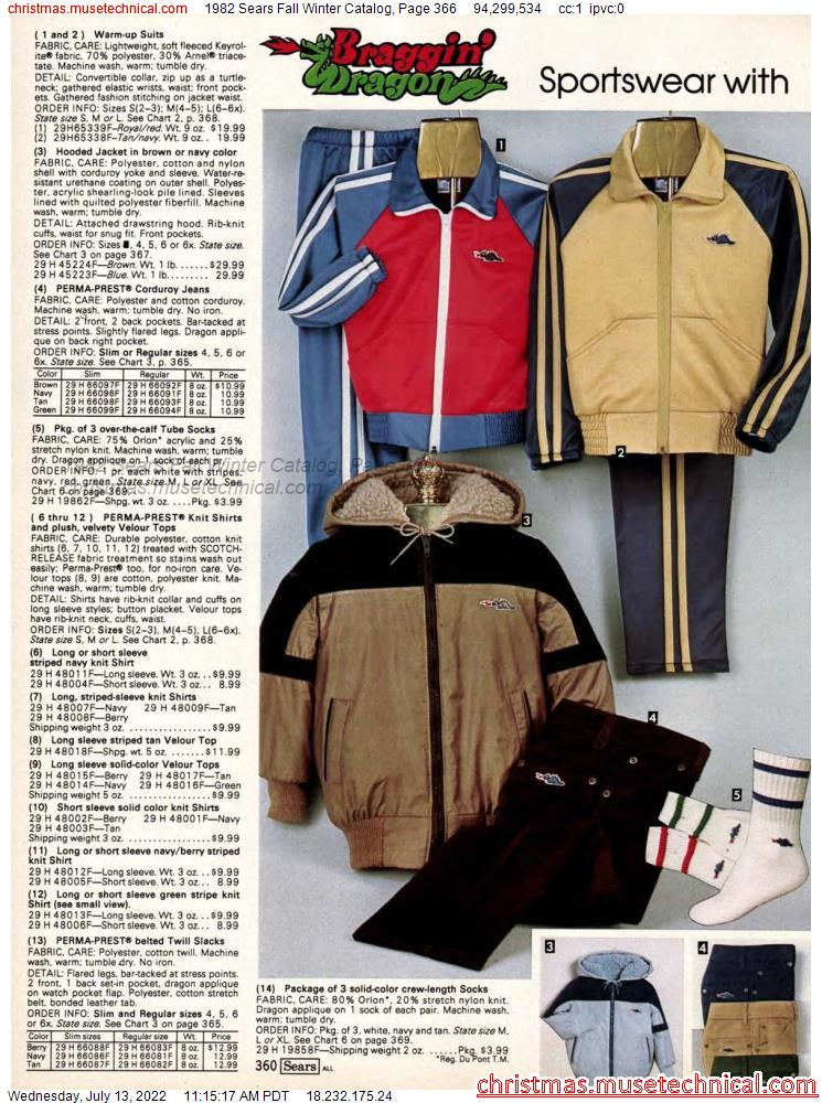 1982 Sears Fall Winter Catalog, Page 366
