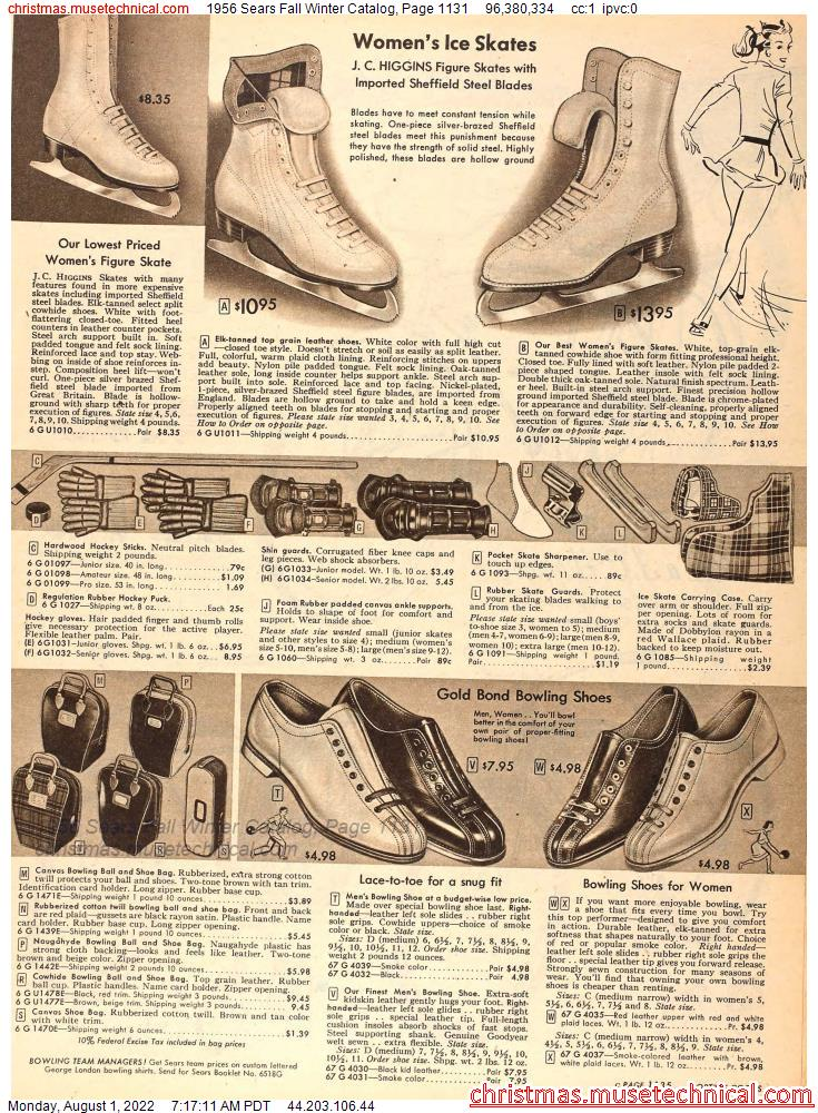 1956 Sears Fall Winter Catalog, Page 1131