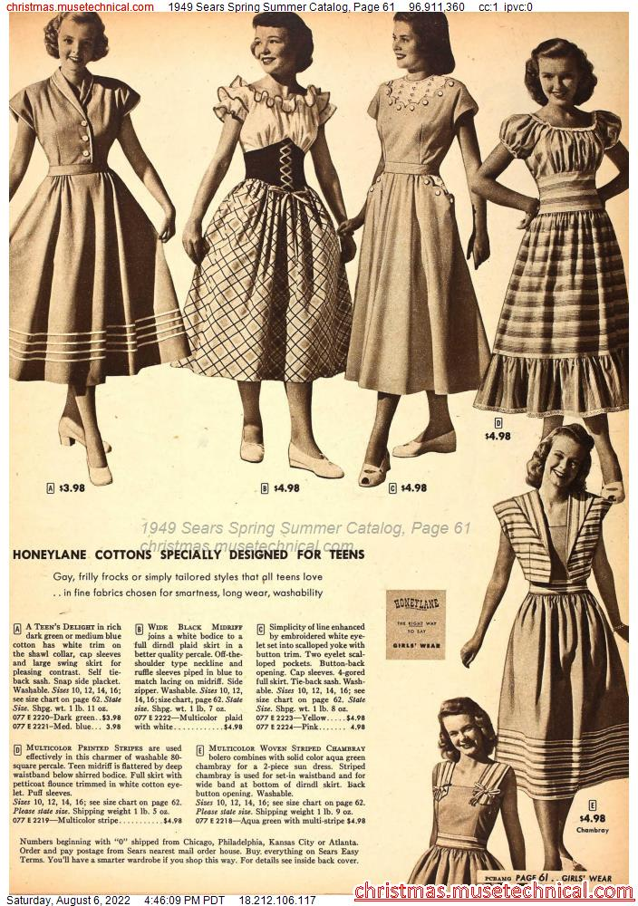 1949 Sears Spring Summer Catalog, Page 61