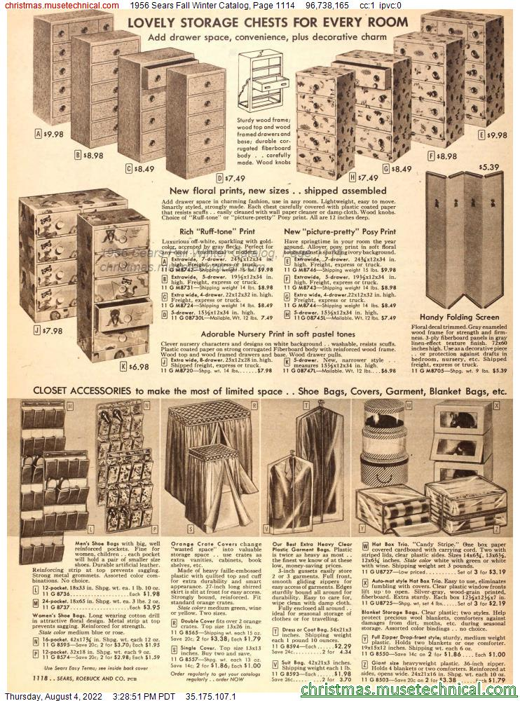 1956 Sears Fall Winter Catalog, Page 1114