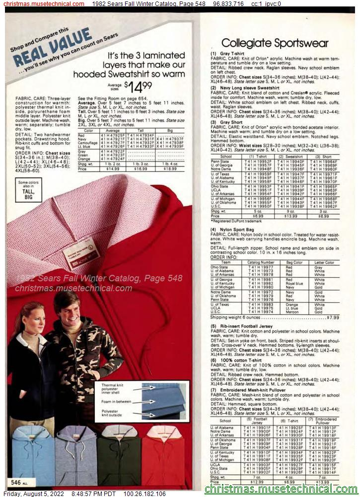 1982 Sears Fall Winter Catalog, Page 548