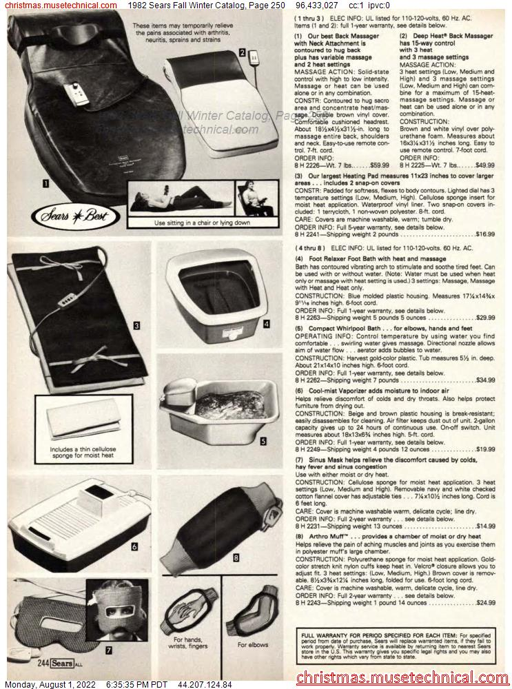 1982 Sears Fall Winter Catalog, Page 250