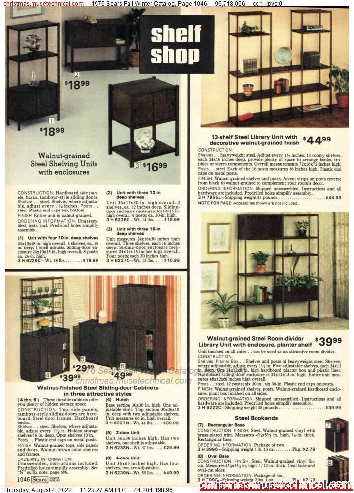 1976 Sears Fall Winter Catalog, Page 1046