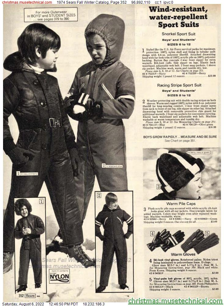 1974 Sears Fall Winter Catalog, Page 352
