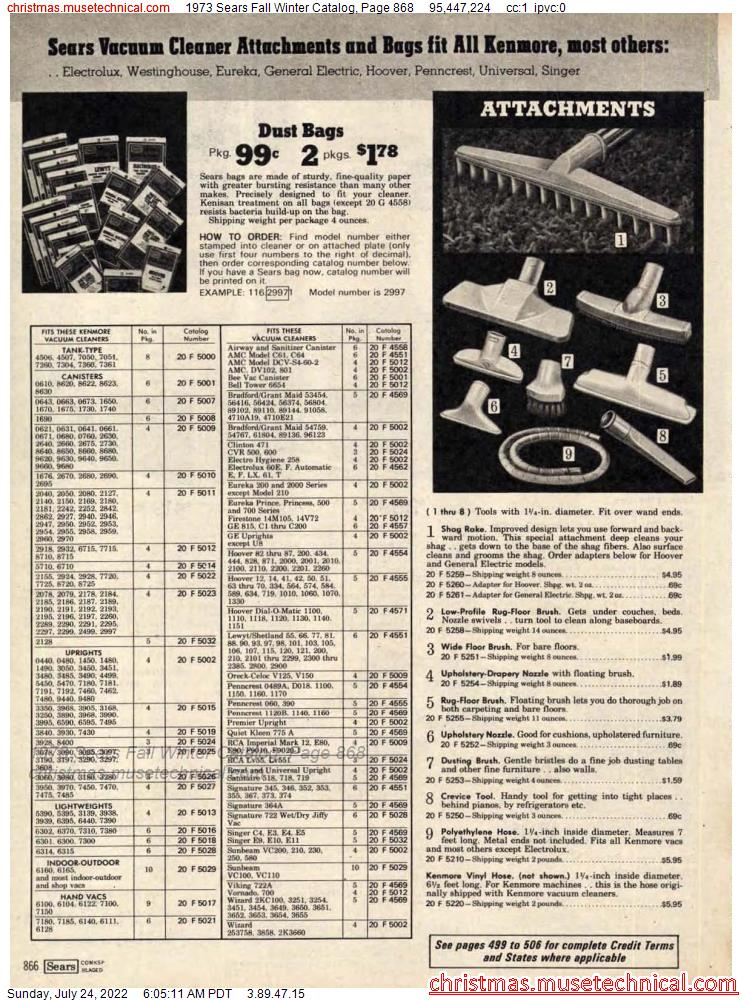 1973 Sears Fall Winter Catalog, Page 868