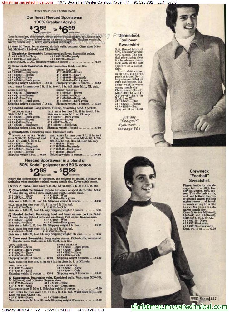 1973 Sears Fall Winter Catalog, Page 447