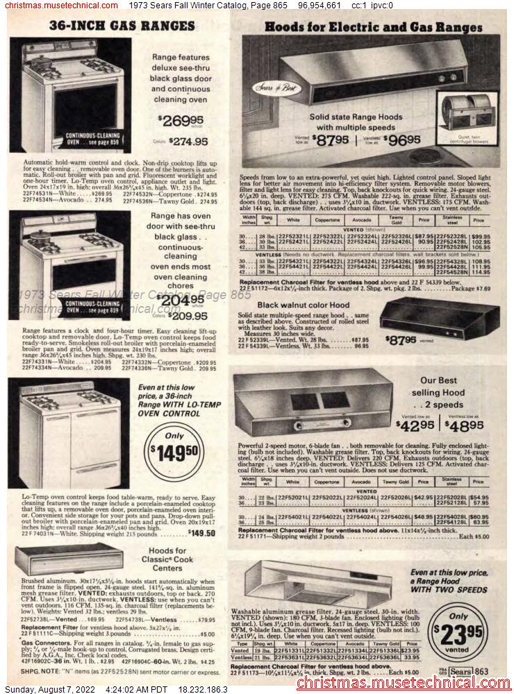 1973 Sears Fall Winter Catalog, Page 865