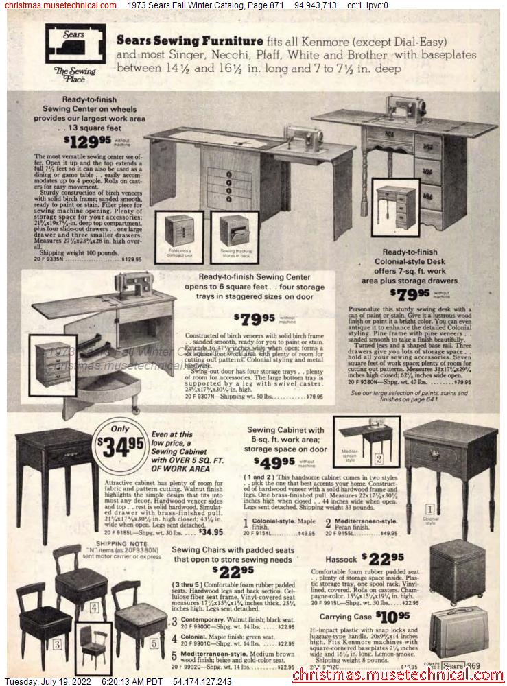 1973 Sears Fall Winter Catalog, Page 871
