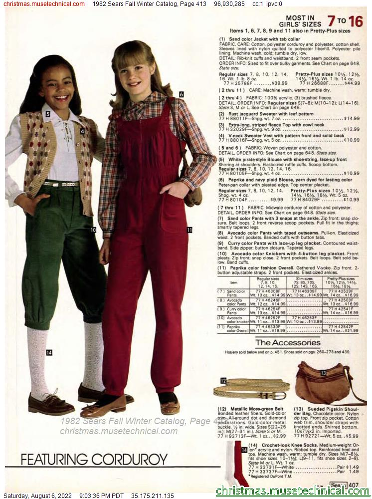 1982 Sears Fall Winter Catalog, Page 413