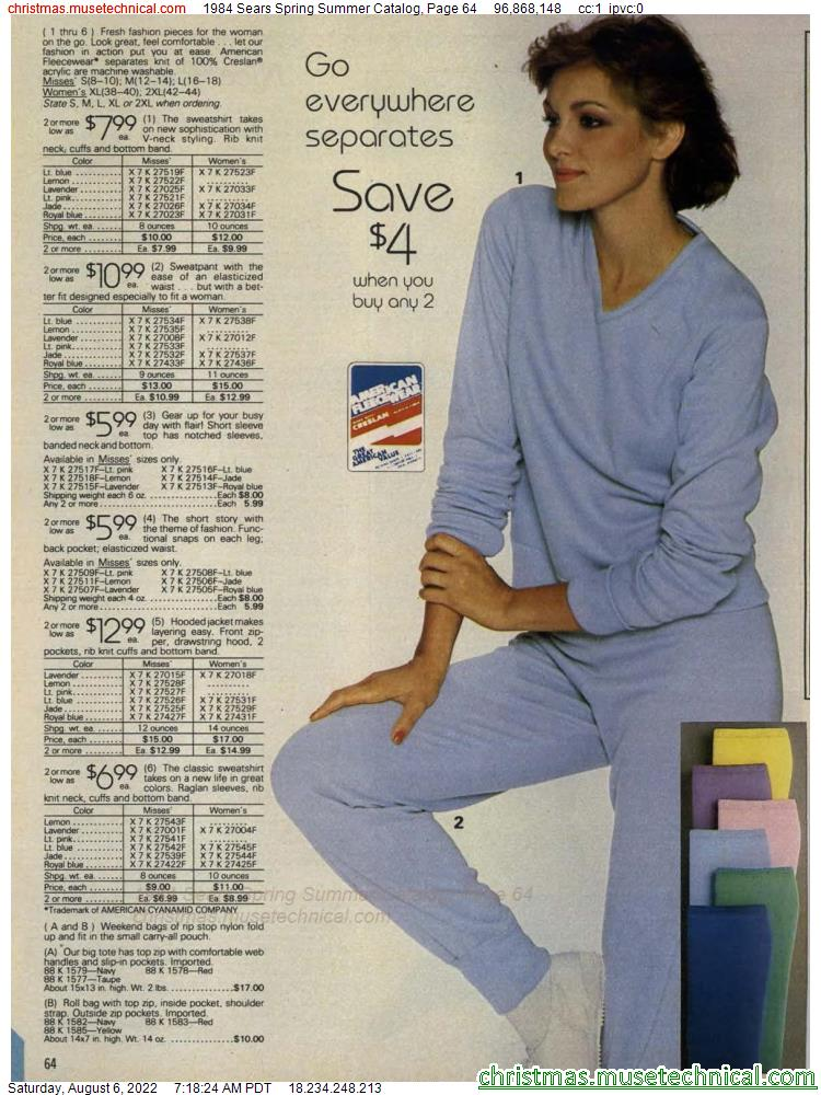 1984 Sears Spring Summer Catalog, Page 64