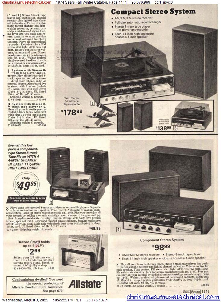 1974 Sears Fall Winter Catalog, Page 1141