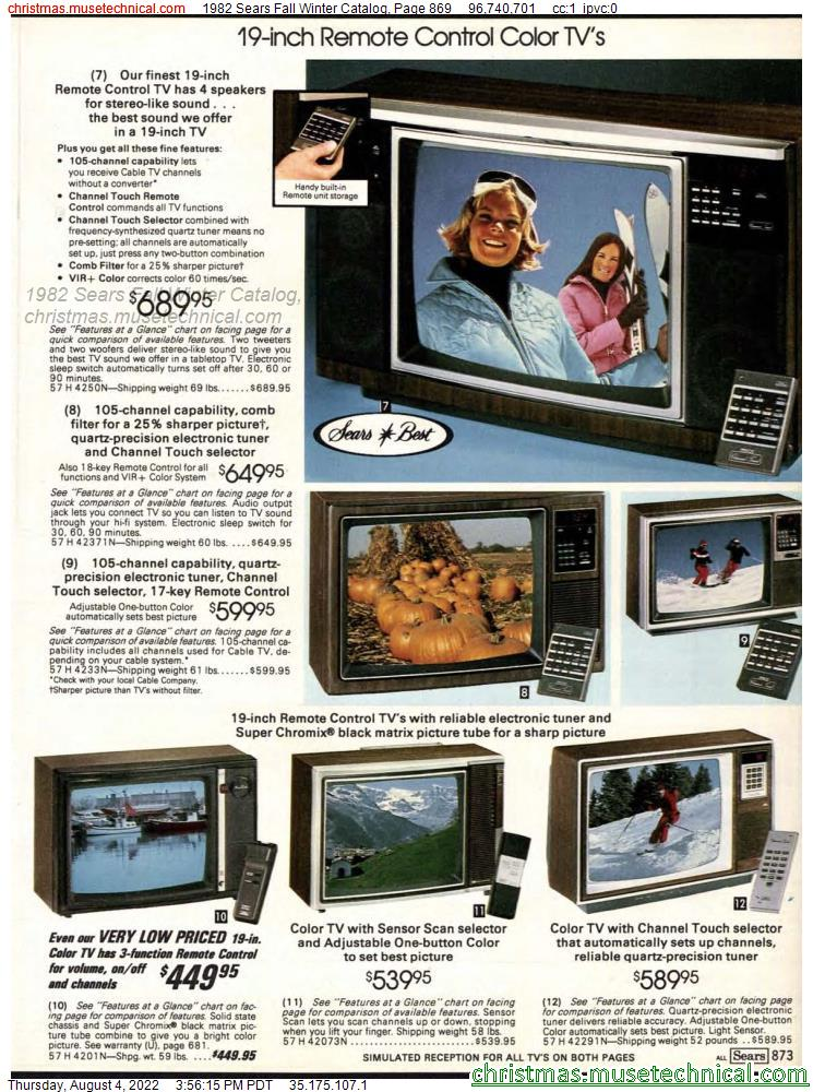 1982 Sears Fall Winter Catalog, Page 869