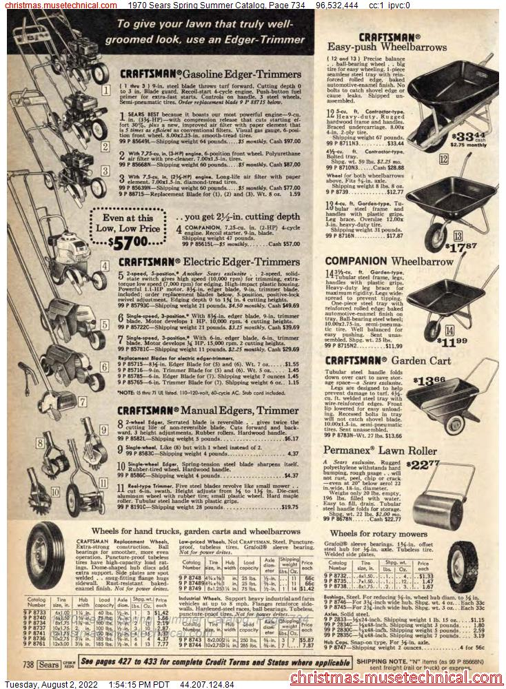 1970 Sears Spring Summer Catalog, Page 734