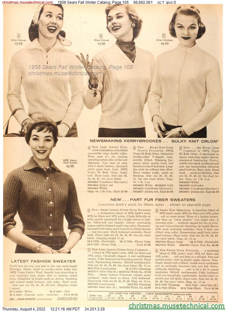 1956 Sears Fall Winter Catalog, Page 105