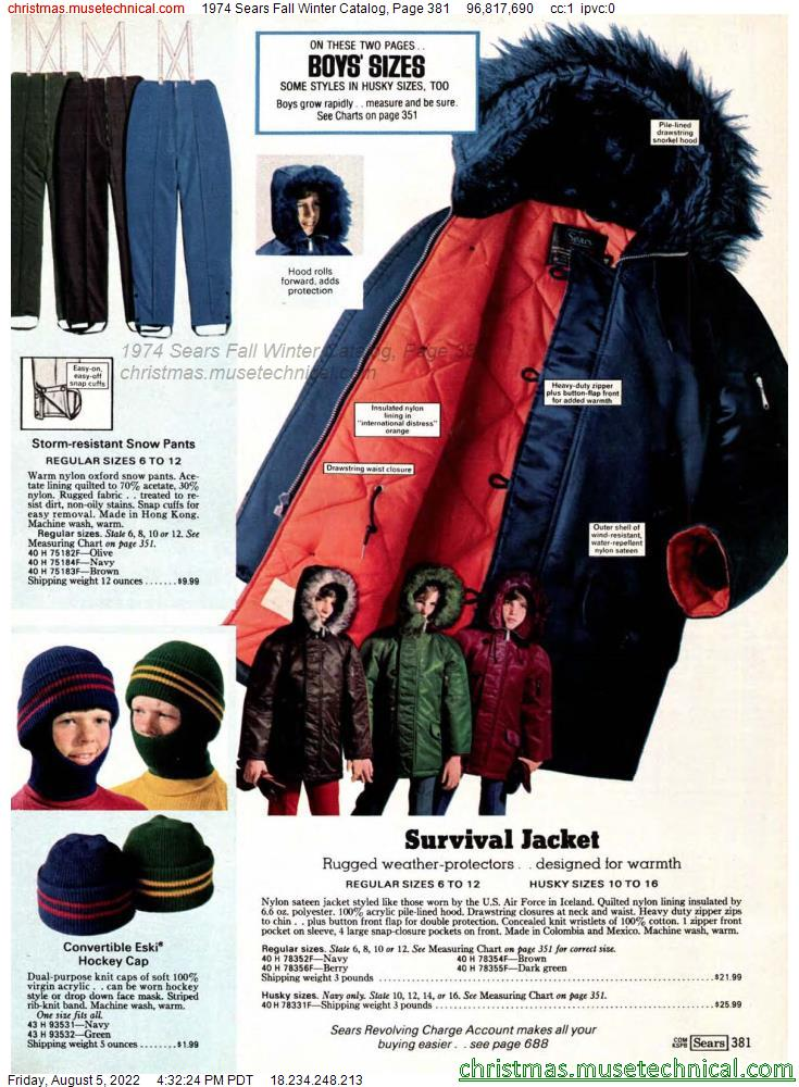 1974 Sears Fall Winter Catalog, Page 381