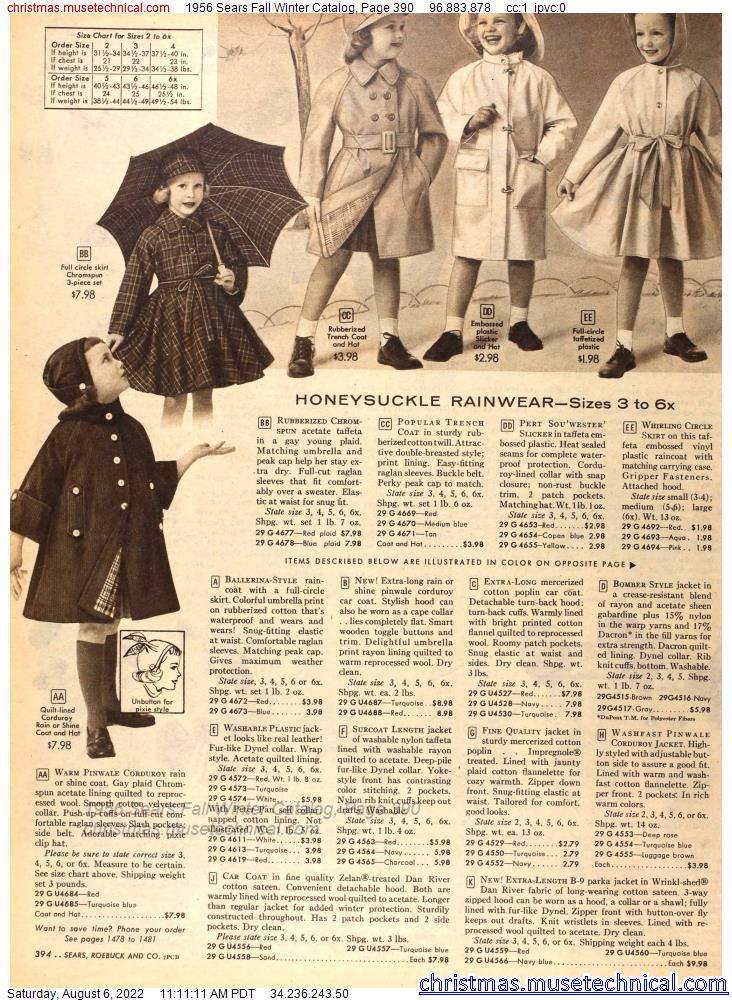 1956 Sears Fall Winter Catalog, Page 390