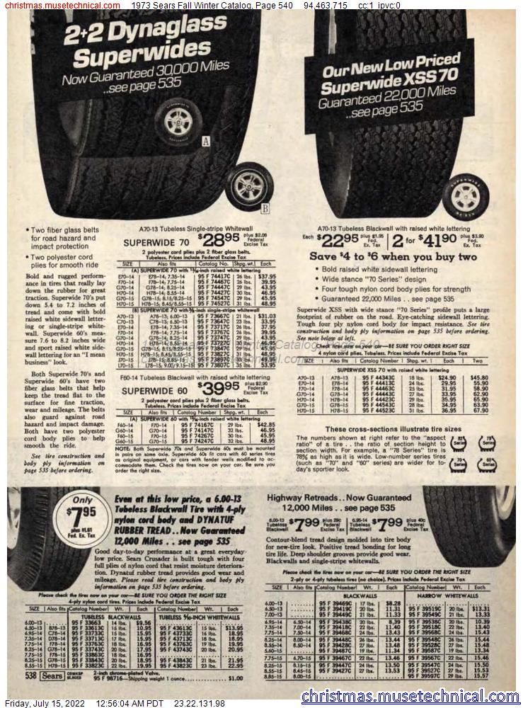 1973 Sears Fall Winter Catalog, Page 540