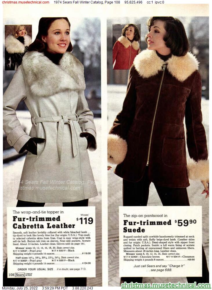 1974 Sears Fall Winter Catalog, Page 108