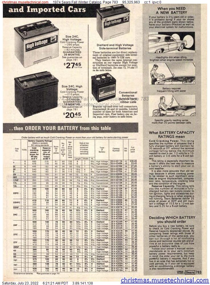 1974 Sears Fall Winter Catalog, Page 783