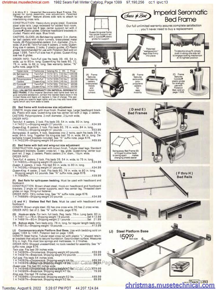 1982 Sears Fall Winter Catalog, Page 1389