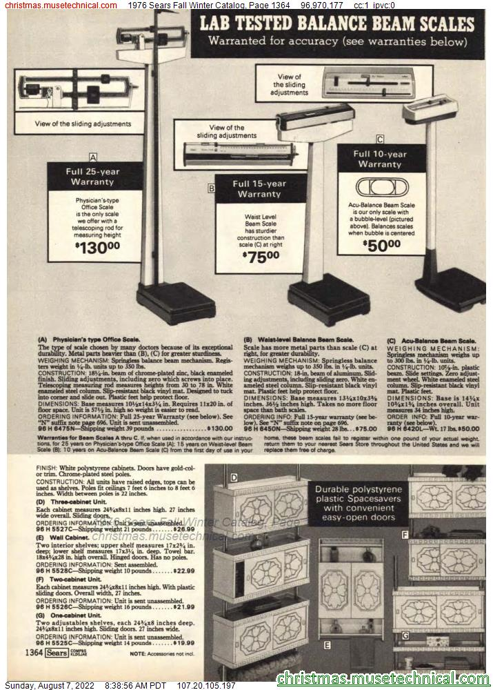 1976 Sears Fall Winter Catalog, Page 1364