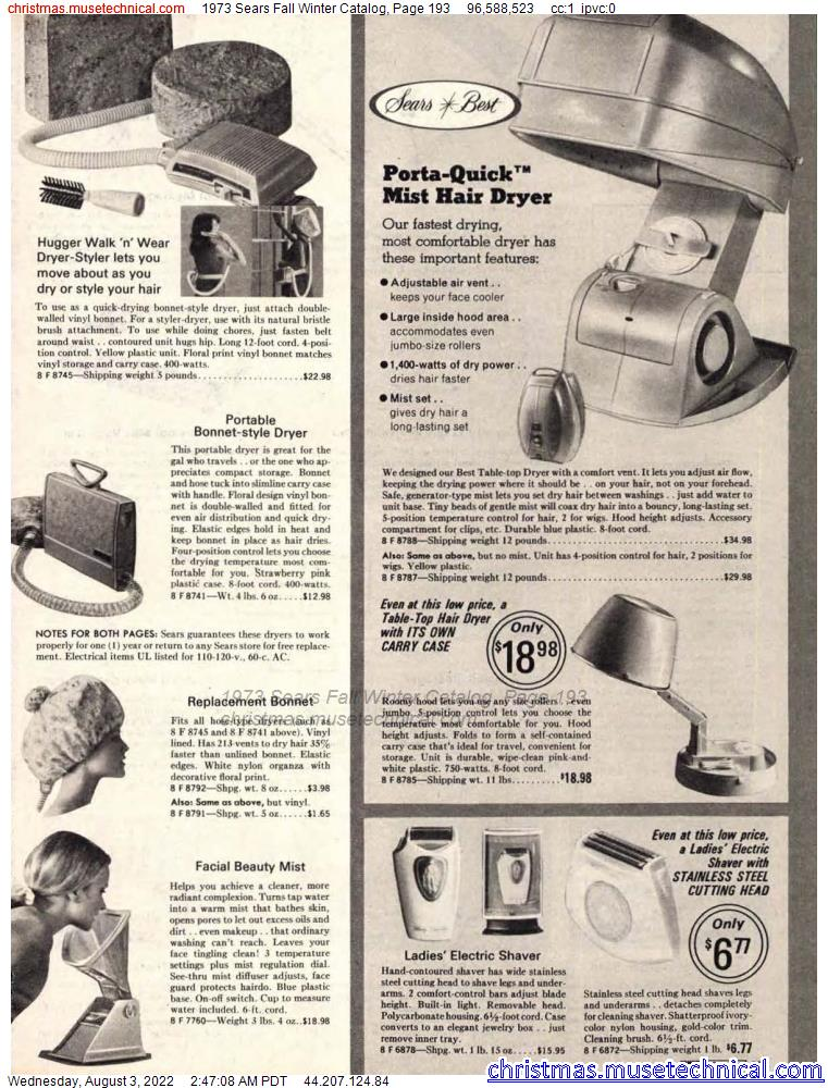 1973 Sears Fall Winter Catalog, Page 193