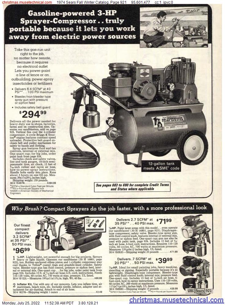 1974 Sears Fall Winter Catalog, Page 921