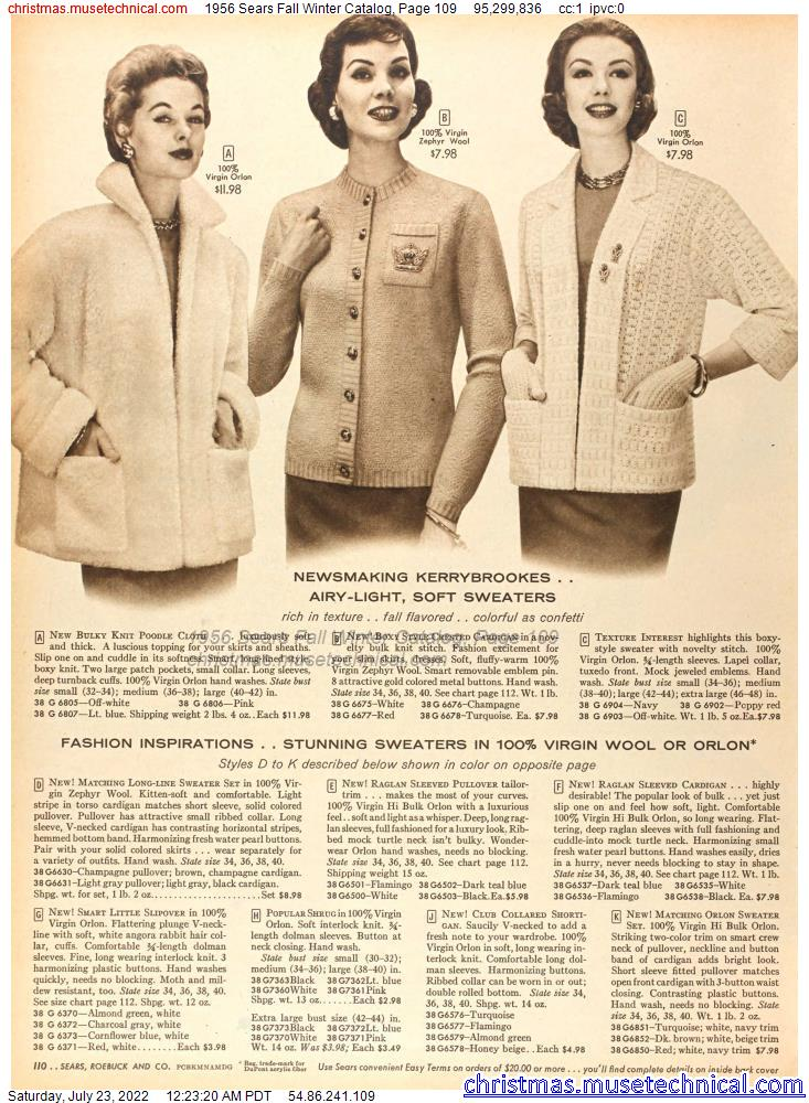 1956 Sears Fall Winter Catalog, Page 109