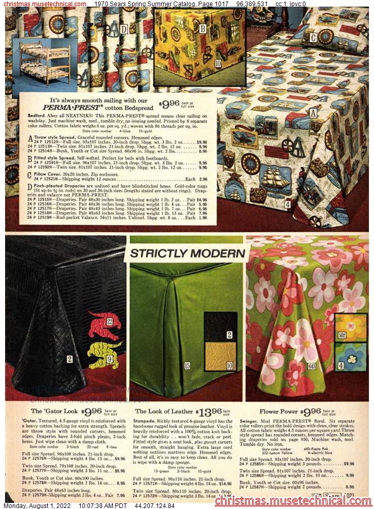 1970 Sears Spring Summer Catalog, Page 1017