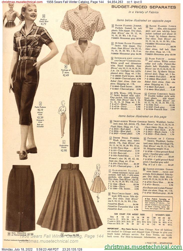 1956 Sears Fall Winter Catalog, Page 144