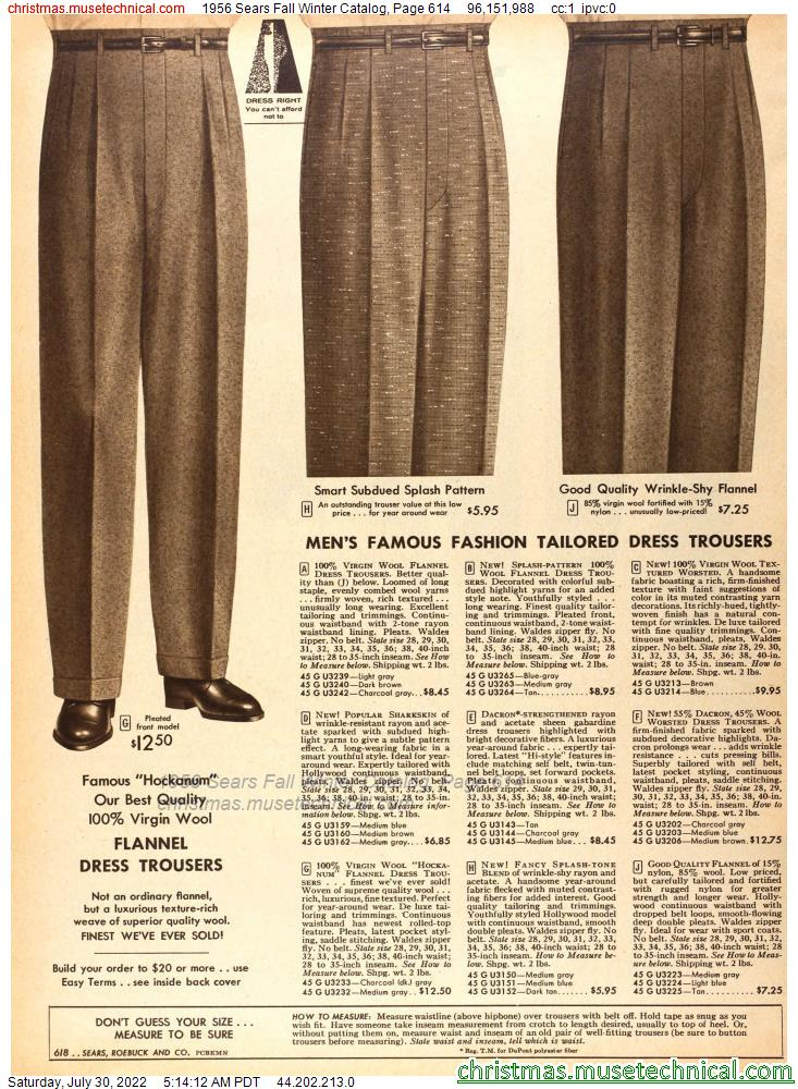 1956 Sears Fall Winter Catalog, Page 614