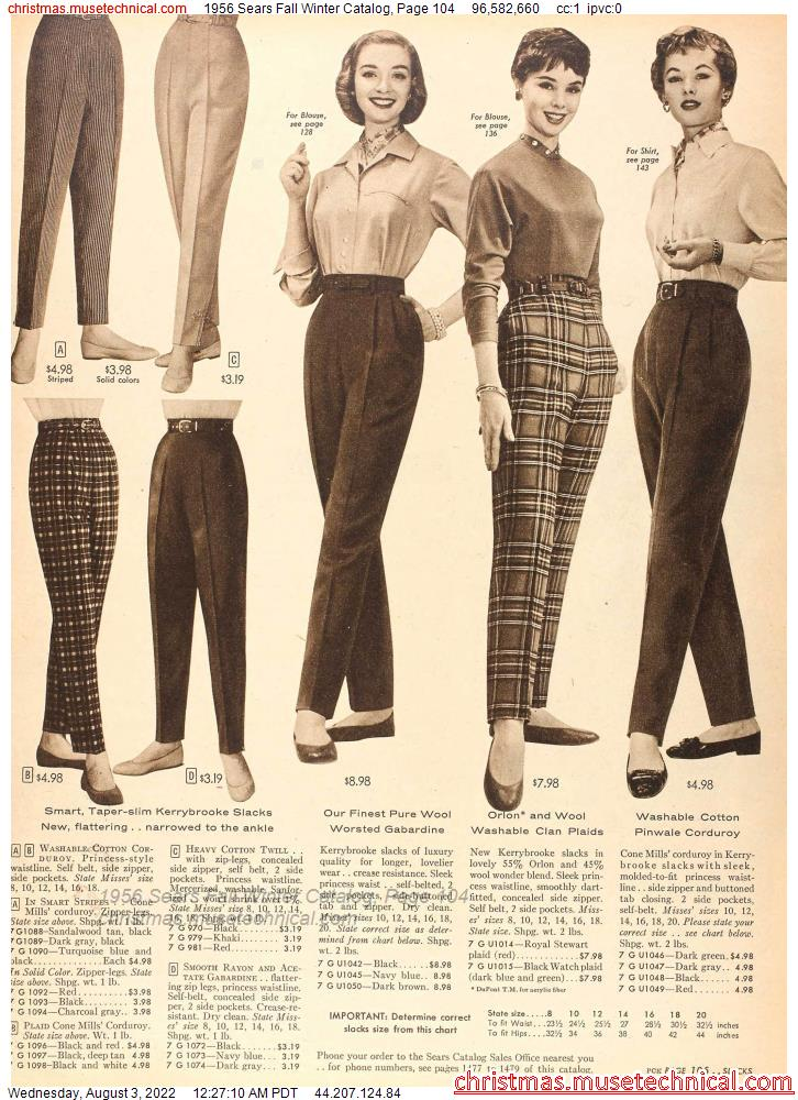 1956 Sears Fall Winter Catalog, Page 104
