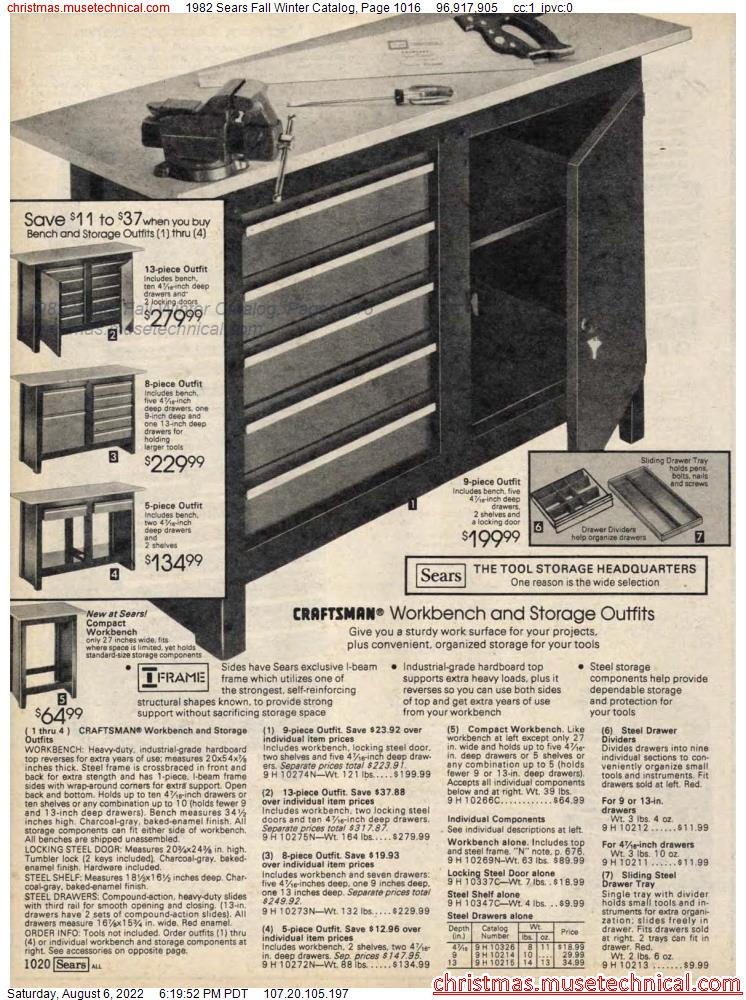 1982 Sears Fall Winter Catalog, Page 1016