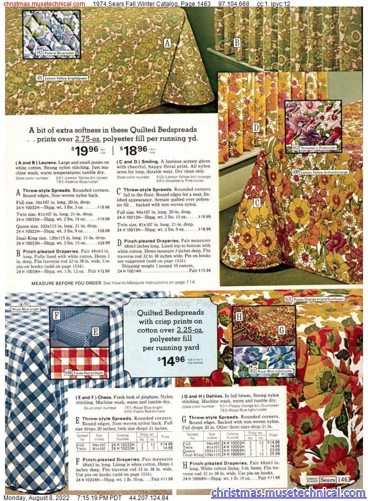 1974 Sears Fall Winter Catalog, Page 1463