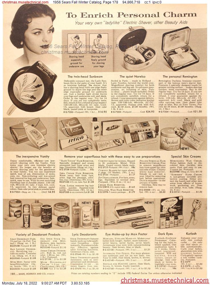 1956 Sears Fall Winter Catalog, Page 178
